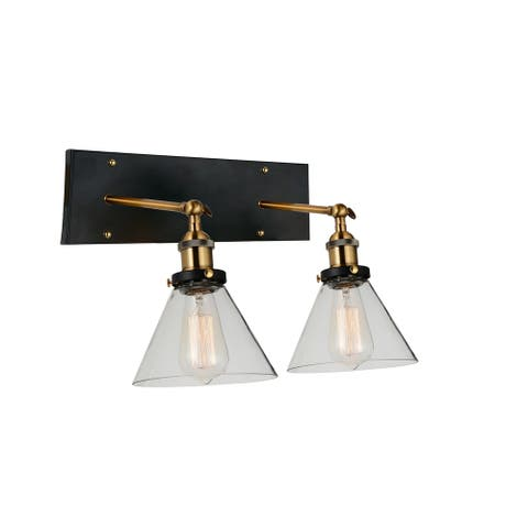 Carbon Loft Avila 2-light Wall Sconce with Black and Gold Brass Finish