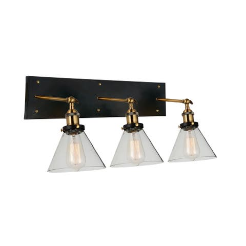 Carbon Loft Avila 3-light Wall Sconce with Black and Gold Brass Finish