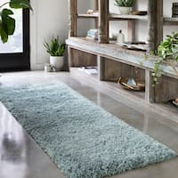 Hand-tufted Contemporary Solid Light Blue Runner Shag Area Rug - 2'3 x 7'6