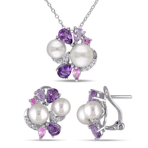 Miadora Sterling Silver Freshwater Pearl Created White and Pink Sapphire Amethyst and Rose de France Earrings and Necklace Set