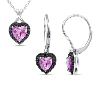 Miadora Sterling Silver Created Pink Sapphire Black Spinel and Diamond Heart Halo Leverback Earrings and Necklace Set