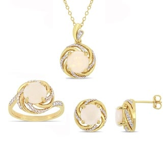 Miadora Yellow Plated Sterling Silver Opal White Topaz and Diamond Swirl Halo Ring Necklace and Stud Earrings Set