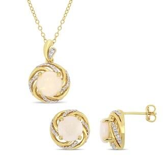 Miadora Yellow Plated Sterling Silver Opal White Topaz and Diamond Swirl Halo Necklace and Stud Earrings Set