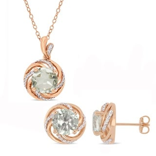 Miadora Rose Plated Sterling Silver Green Amethyst White Topaz and Diamond Swirl Halo Necklace and Stud Earrings Set