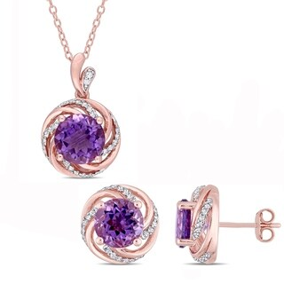 Miadora Rose Plated Sterling Silver Amethyst White Topaz and Diamond Swirl Halo Necklace and Stud Earrings Set