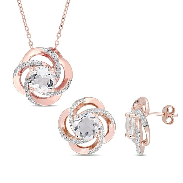 4d729003f Miadora Rose Plated Sterling Silver White Topaz Floral Swirl Stud Earrings  and Necklace Set