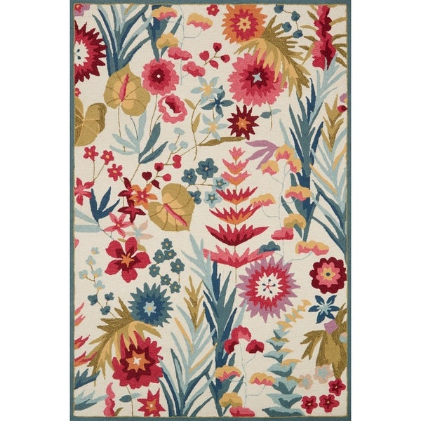 """Hand-hooked Floral Ivory/ Pink Multi Transitional Area Rug - 2'3"""" x 3'9"""""""