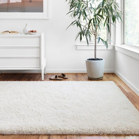 """Hand-tufted Contemporary Solid White Shag Area Rug - 7'9"""" x 9'9"""""""