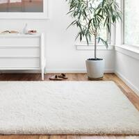"Hand-tufted Contemporary Solid White Shag Area Rug - 7'9"" x 9'9"""
