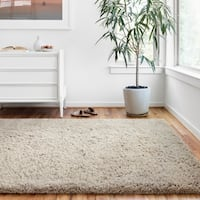 "Hand-tufted Contemporary Solid Light Grey Shag Area Rug - 9'3"" x 13'"