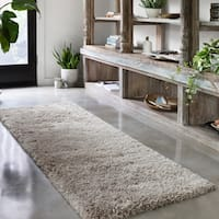 Hand-tufted Contemporary Solid Taupe Runner Shag Area Rug - 2'3 x 7'6