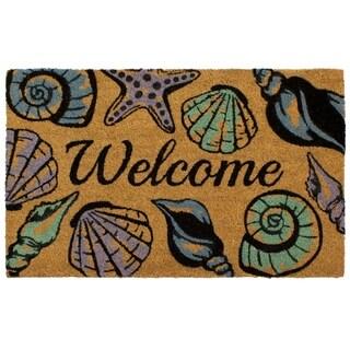 Storm Stopper Seashell Welcome 18x28 In. Indoor/Outdoor Coir Mat