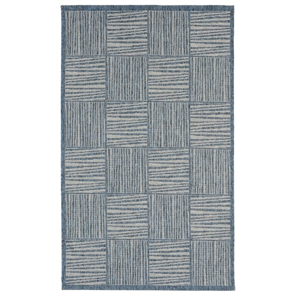 Liora Manne Lines In Boxes Outdoor Rug (4'10 x 7'6) - 4'10 x 7'6