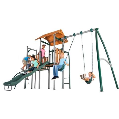 Sportspower Big Ridge Metal Swing Set with Wood Play Fort
