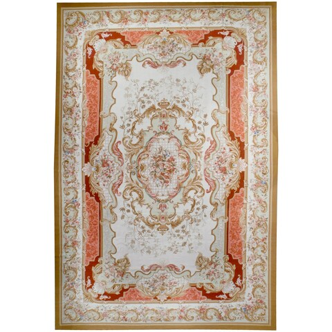 Wool Aubusson Handmade Area Rug - 12' x 18'