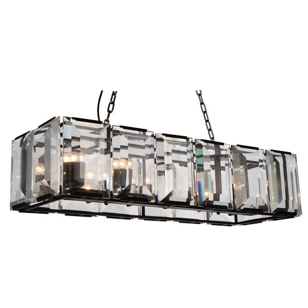 Black Stainless Steel 12 Light Chandelier With Clear Crystals