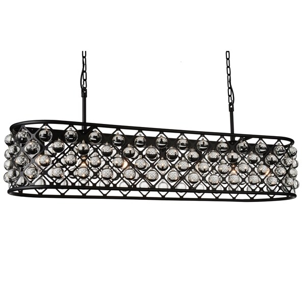 8 Light Chandelier With Black Finish And Clear Crystals