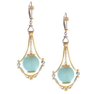 Michael Valitutti Palladium Silver Amazonite & Swiss Blue Topaz Bead Dangle Earrings