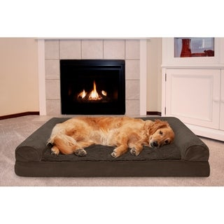 FurHaven Plush & Suede Cooling Gel Top Sofa Pet Bed