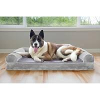 FurHaven Pet Bed | Faux Fur & Velvet Cooling Gel Top Sofa Dog Bed