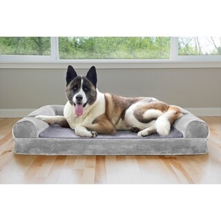 FurHaven FauxFur & Velvet Cooling Gel Top Sofa Pet Bed