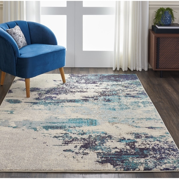 """Nourison Celestial Ivory Teal Blue Abstract Area Rug - 7'10"""" x 10'6"""""""