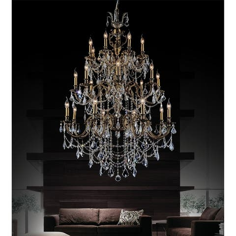 24 Light Chandelier with Antique Brass Finish