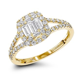 Affordable 14K Gold Baguette Round Diamond Halo Engagement Ring 0.8ctw by Luxurman