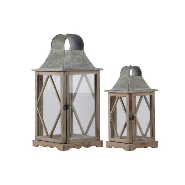 Urban Trends Wood Square Lantern with Metal Top and Side Diamond Design Body in Natural Wood Finish, Set of 2 - Brown