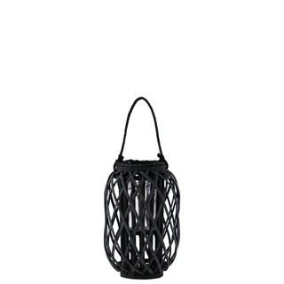 UTC55041: Bamboo Round Lantern Coated Finish Black