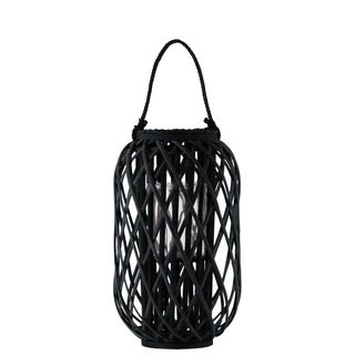 UTC55035: Bamboo Round Lantern with Braided Rope Lip and Handle, Coated Finish Black