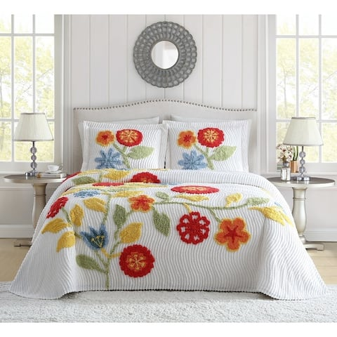 White Birch Flower Garden Chenille Single Standard Sham