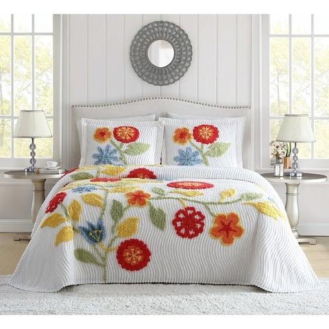 White Birch Flower Garden Chenille Bedspread