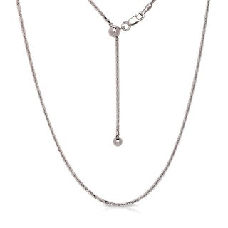 Curata Italian Sterling Silver Rhodium Plated 22 Inch Adjustable 1 2mm Round Anchor Chain Necklace
