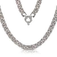 Curata Italian Sterling Silver 8mm Wide 17-Inch Byzantine Necklace with a Toggle Closure