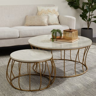 Strick and Bolton Round 2/PC White Marble Table with Gold Frame
