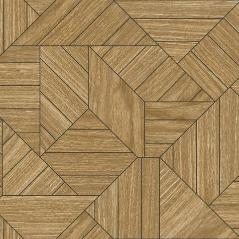 Biscayne Wood Geometric Wallpaper 20.5 In. x 33 Ft. = 56 Sq.Ft