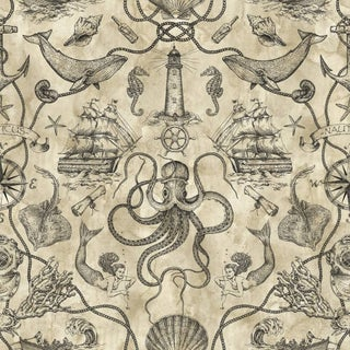 Biscayne Deep Sea Toile Wallpaper 20.5 In. x 33 Ft. = 56 Sq.Ft