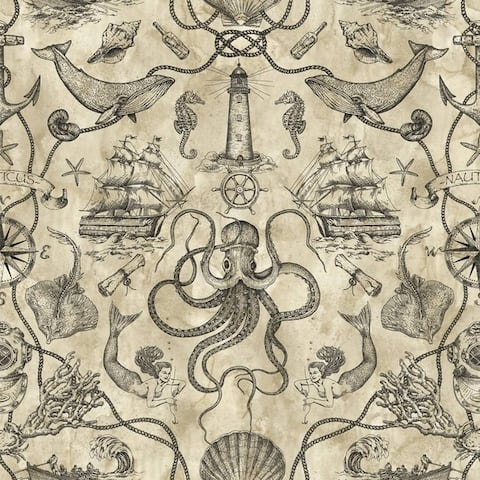 Biscayne Deep Sea Toile Wallpaper 20.5 in x 33 Ft
