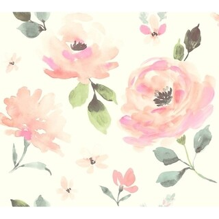 Seattle Watercolor Blooms Wallpaper 27 In. x 27Ft. = 60.75 Sq.Ft