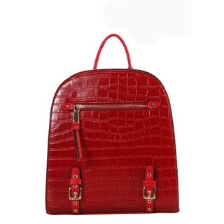Diophy PU Leather Luxury Embossed Animal Print Backpack