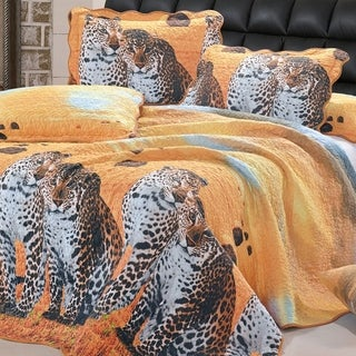 Serenta Leopard Quilted Coverlet 6 Piece Bed Spread Set