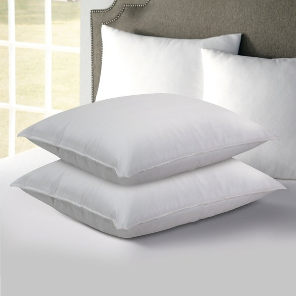 2 Pack Hotel Laundry Medium-Firm Support Promotes Better and Healthier Sleep Postures, Ideal for Back and Side Sleepers - White