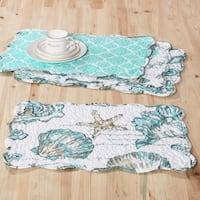Barefoot Bungalow Cruz Coastal Reversible 4-Piece Quilted Placemat Set