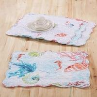 Barefoot Bungalow Sarasota Coastal Reversible 4-Piece Quilted Placemat Set