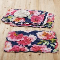 Barefoot Bungalow Peony Posy Navy Reversible 4-Piece Quilted Placemat Set