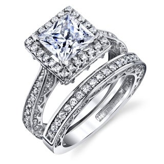 Oliveti Sterling Silver 925 Engagement Rings Wedding Band Bridal Set Princess-cut Cubic Zirconia 2pcs