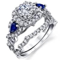 Oliveti Women's Sterling Silver 925 Engagement Wedding Rings Bridal Set 2pcs Round Cubic Zirconia