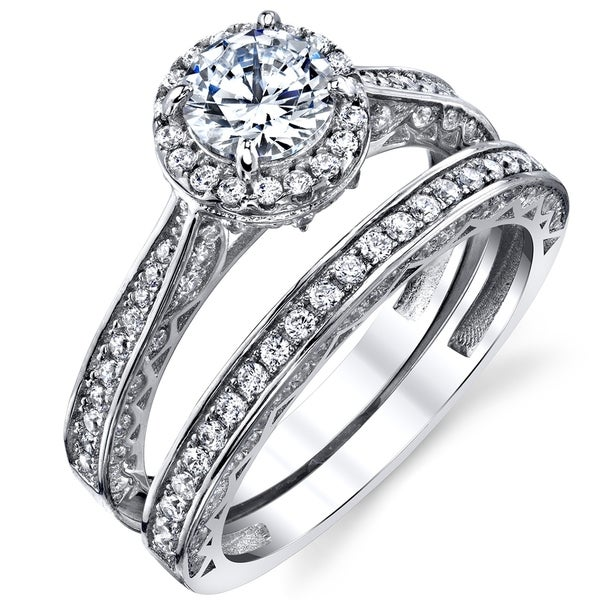 790976368 Oliveti Sterling Silver 925 Engagement Rings Wedding Band Bridal Set Round  CZ - Clear