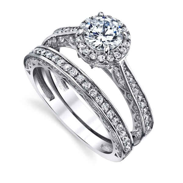 Clear Marquise Center Round Cubic Zirconia Bridal Set Ring Ring Rhodium Plated Sterling Silver
